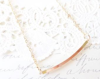 Gold Bar Necklace - Curved Bar Necklace - Gold Bar Layering Necklace - Simple Bar Necklace - Minimalist Jewelry