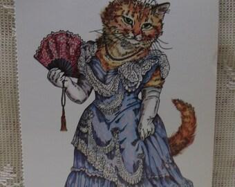 Dressed Victorian Cat-Fancy Dress-Fan-Tiara-Vintage Cat Postcard-Evelyn Gathings