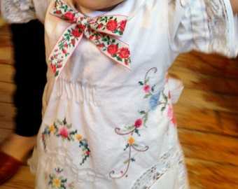 Embroidered Tablecloth Dress with Bow at Collar ~ SORRY, SOLD!