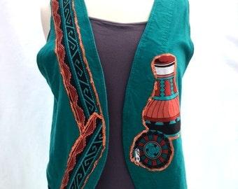 Vintage 80s TEAL Green NAVAJO Pottery Vest
