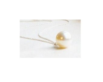 White Drop Pearl Necklace , Sterling Silver Chain , Gift For Her , Bridal Jewelry
