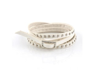 White  Leather Wrap  Cuff Bracelet ,   Silver Studded Leather