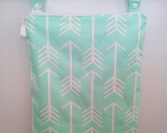 Mint Arrow Wet Bag, waterproof washable wetbag, you pick size, wet bags for cloth diapers, swimsuits