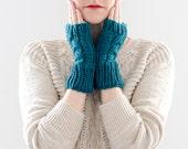 Knitted Fingerless Gloves, Hand Knit Fingerless Mittens, Teal Blue Wool, Cable Winter Mitten