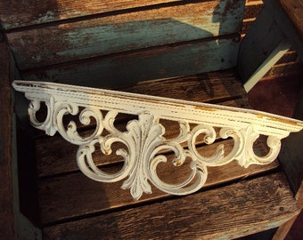 Vintage Shabby Chic Wood Shelf Bed Crown Shelf Hollywood Regency Style Distressed chippy antique off white Baroque French Country Large