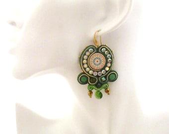 green gold chandelier earrings , morrocan tile jewelry ,  statement earrings , handmade jewelry , crystal swarovski earrings - Valeria
