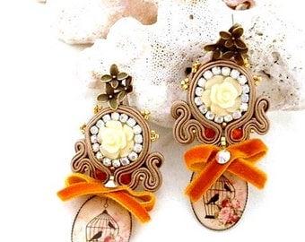rose flower  earrings | belle epoque cherry blossom earring | starter pack  | vintage bird cage jewellery | gift valentine | chandelier