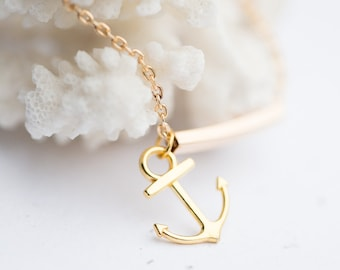 Gold Anchor Bracelet Modern Minimalist chain charm friendship bracelet sailor nautical jewelry summer beach minimalist minimal chic