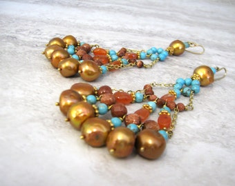 Long Turquoise Chandelier Earrings with Rusty Orange Pearls -SAMPLE SALE  Large Multi Strand Fan Earrings Spanish Inspired Sharona Nissan