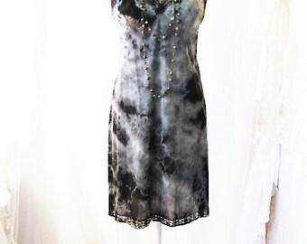 Medium/Large Tie Dye Vintage Slip/Black and White Slip/Upcycled/Ecru Rustic Wedding/Upcycled cowgirl/Tattered Revolution/French Summer