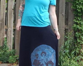 SALE Grateful Dead Bertha Long Black T Skirt Roses Tie Dye Festival Hippie Shirt OOAK Patchwork