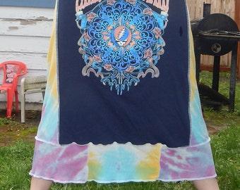 Grateful Dead Mandala T Skirt Tie Dye Festival Hippie Shirt OOAK Patchwork