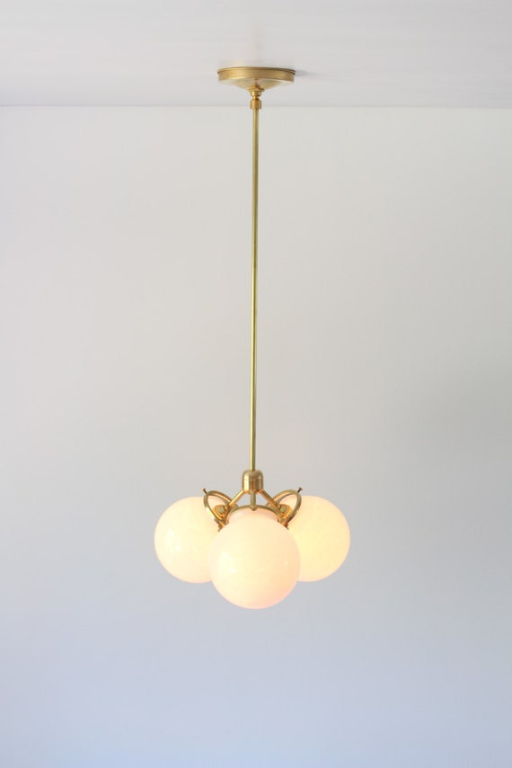 Modern Brass Chandelier 3 White Glass Globes Industrial