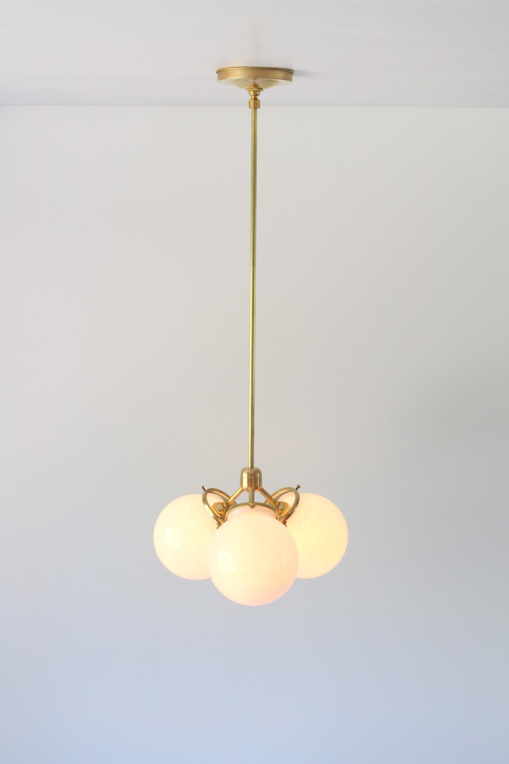 Modern Brass Chandelier 3 White Glass Globes Industrial