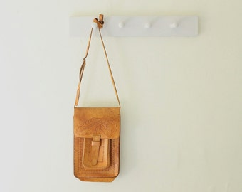 vintage 70s tooled leather crossbody bag