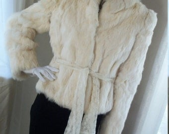 Vintage 1940s Style Fur Chubby Decadent White Rabbit Fur Fox Collar Jacket Lace Belt Size M Orig Design As Is Cond