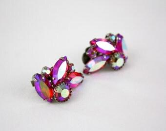 Vintage 50s Rhinestone Earrings Fuchsia Pink AB Rhinestones Formal Earrings Clip on Backs