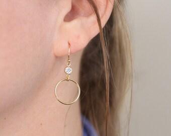 simple earrings, circle earrings, gold earrings, sterling silver earrings, cubic zirconia, cz, lightweight earrings, gift for her, wedding
