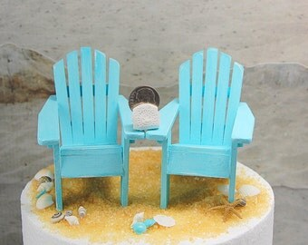 """Adirondack Chairs Miniature Rustic Distressed Set Of 2 For 5"""" Cake Top Shabby Beach Custom Colors Handmade To Order"""