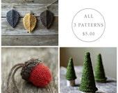 Seasonal Pattern Bundle - Knitting Pattern - Knit Acorn  - Jack Pine Tree - Autumn Leaves - Christmas Ornament - Amigurumi - Waldorf