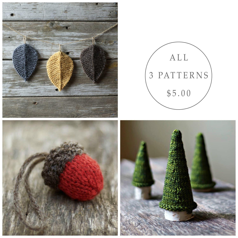 Acorn Leaf Knitting Pattern : Seasonal Pattern Bundle Knitting Pattern Knit Acorn