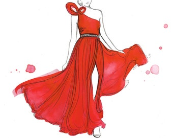Valentino Red, print from original watercolor and mixed media fashion illustration by Jessica Durrant