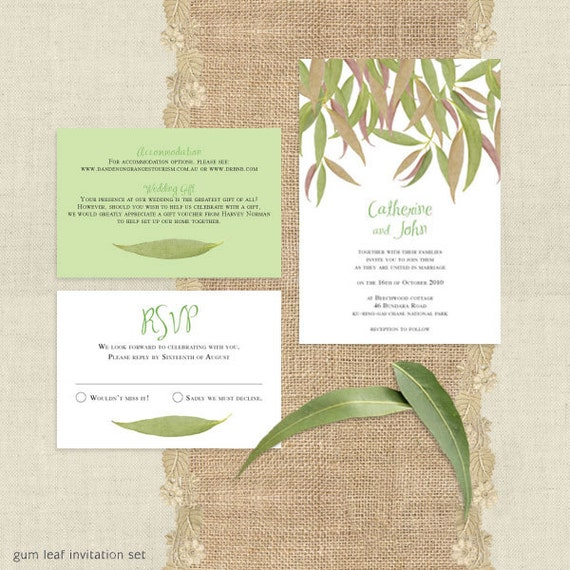 gum leaf printable wedding invitation suite leaves eucalyptus green outdoor nature trees forest bush rustic rsvp insert set Australian diy
