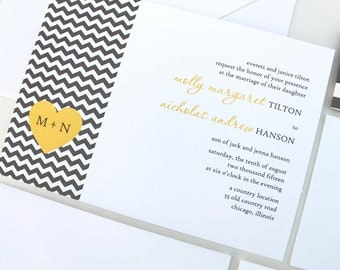 Yellow & Gray Wedding Invitations, Chevron Wedding Invitations, Heart Wedding Invites, Belly Band, Modern, Simplistic, Contemporary