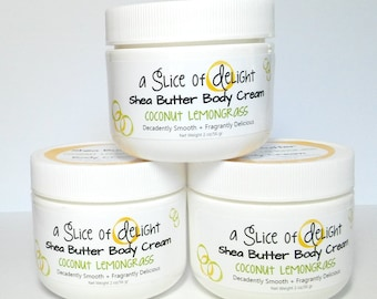 Coconut Lemongrass Shea Butter Body Cream, Body Cream, Shea Butter Cream, Moisturizer, Gift for Her