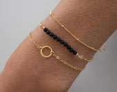 Back Onyx Gold bracelet set - 3 dainty gold stacking bracelets - save 15%