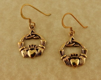 Vintage Celtic Irish Bronze Claddagh Earrings with Trinity Knot