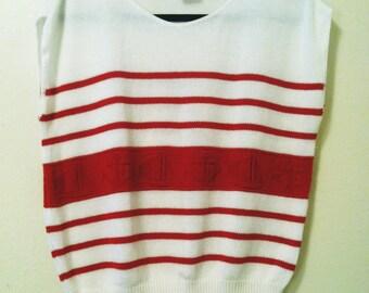 SALE 80's Sleeveless Sailor Knit Sweater
