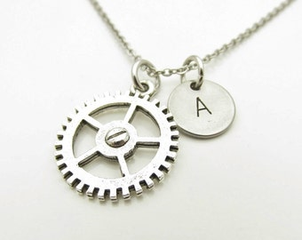 Gear Necklace, Antique Silver Gear, Wheel Necklace, Personalized, Initial Necklace, Steampunk Necklace, Monogram Charm, Stamped Initial Y296