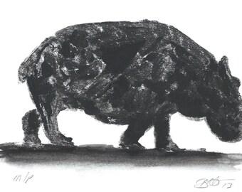 Original Hippo Art in Black ink, handmade original ink monoprint.