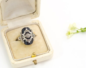 Vintage Onyx Ring Sterling Marcasite Ring Abstract Geometric Statement Ring Size 5.25