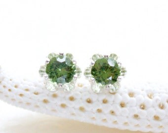 Vintage Style Buttercup Stud Earrings with Natural Flawless 4mm Green Zircon Eco Friendly, Ethical, Conflict Free And Ready to Ship