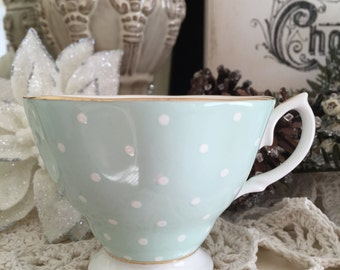 Teacup..Royal Albert..Vintage Bone China.. Mint Green Polka Dot Teacup...Pink Roses and White Polka Dot..Polka Rose Collection