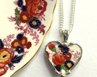 Broken china jewelry heart pendant necklace antique Royal Cauldon Majestic recycled china