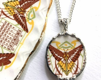 Recycled china jewelry oval pendant necklace antique Art Nouveau butterfly luna moth. made from a broken 1915 plate