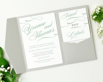 Pocket Wedding Invitation Template - INSTANT DOWNLOAD | Aqua Script | Edit in Word or Pages | Print it Yourself | Mac & PC