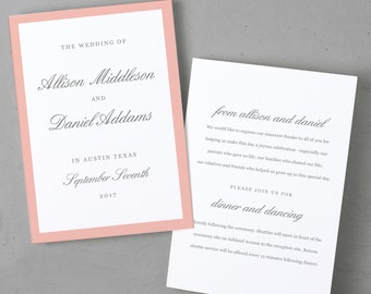 Printable Wedding Program Template, Order of Service, Grey & Pink Script, Mac or PC, 100% Editable, Cheap Wedding Program, INSTANT DOWNLOAD