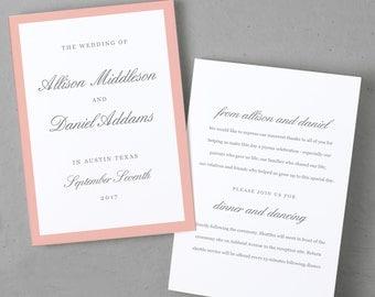 Printable Wedding Program Template, Order of Service, Grey & Pink Script, Mac or PC, 100% Editable, Cheap Wedding Program, INSTANT DOWNLOAD