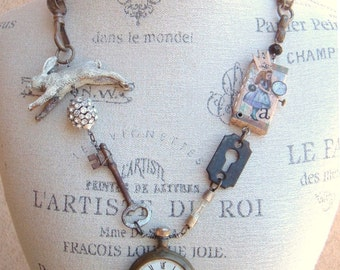 Go Ask Alice....Steampunk Assemblage Necklace