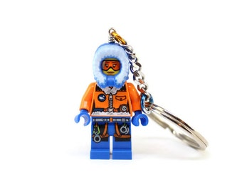 Arctic Explorer Keychain - made from Genuine LEGO® Minifig, Arctic Couples Keychains, Winter Keychain