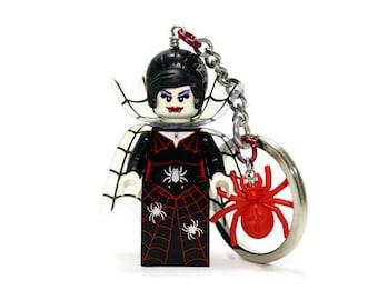 Spider Lady Keychain - made from Series 14 LEGO®  Minifigure, Spider Keychain. Spider Queen