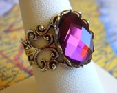 Purple Supernova - Ring - Adjustable Silver Ring With A Faceted Glass Jewel - Handmade Jewelry by HoneyNest