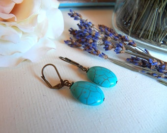 ON SALE - Vintage Inspired Turquoise Blue Earrings, Howlite Gemstone Beads, Leverback Ear Wires, Handmade Keepsake Jewelry by HoneyNest