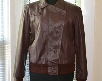 Vintage Leather Jacket - 70s/early 80s Shrunken Fit - Dark Oxblood - Asymmetrical Button Front - xs/s