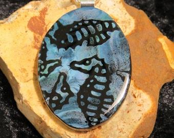 Fused Glass Pendant - Fused Glass Jewelry - Fused Glass Necklace - Fused Glass UK -Blue Glass Pendant - Seahorse Pendant