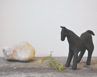 modern rustic home accent: black horse. original clay figurine